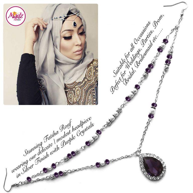 Madz Fashionz UK - Fatiha World Tear Drop Headpiece Silver and Purple