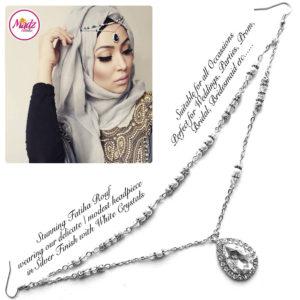 Madz Fashionz UK - Fatiha World Tear Drop Headpiece Silver and White