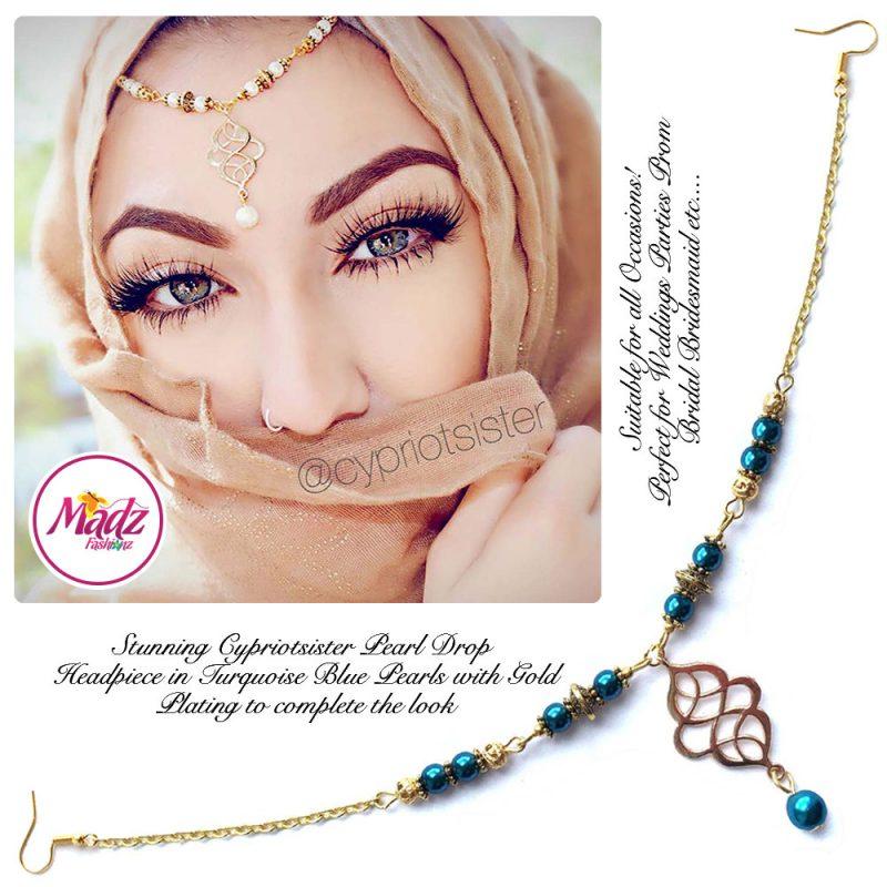 Madz Fashionz UK: Maryam Cypriotsister Pearl Drop Headpiece Gold Turquoise Blue