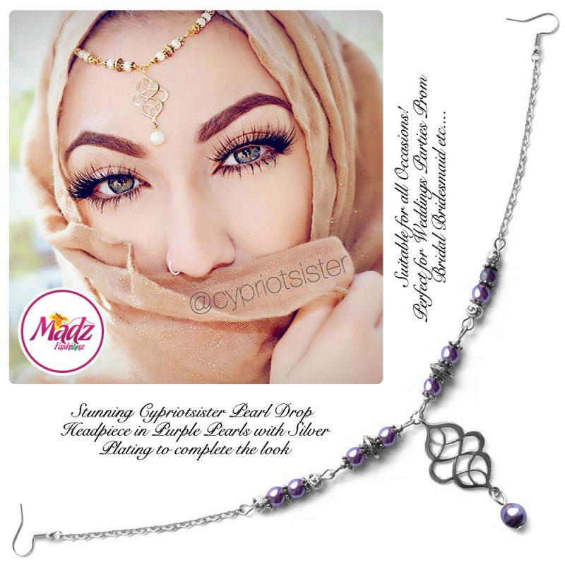 Madz Fashionz UK: Maryam Cypriotsister Pearl Drop Headpiece Silver Purple