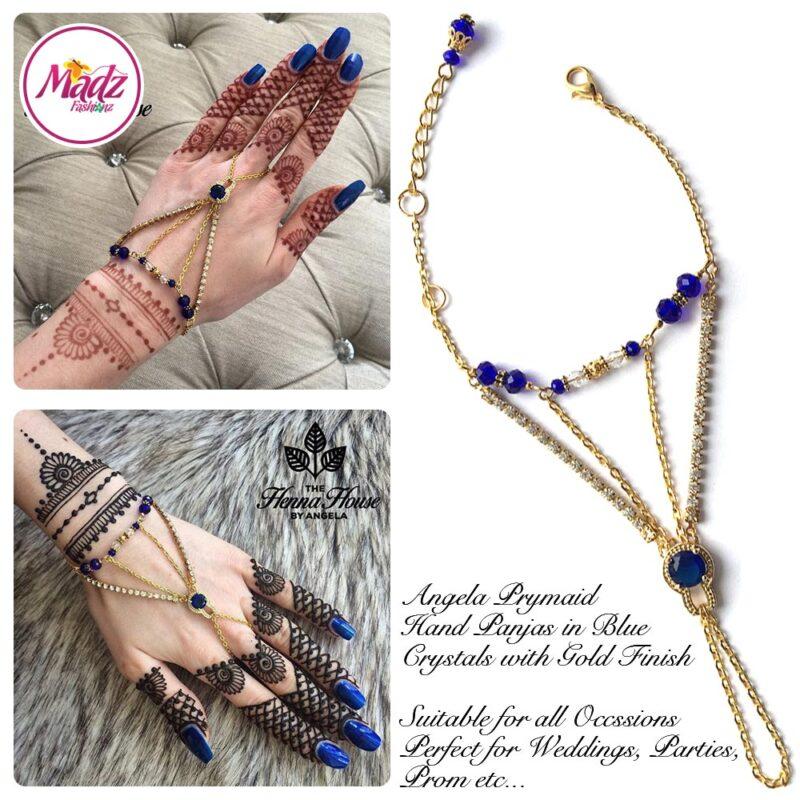 Hennabyang Gold Royal Blue Panjas Hand Jewellery Cuff Bracelet - MadZ FashionZ UK