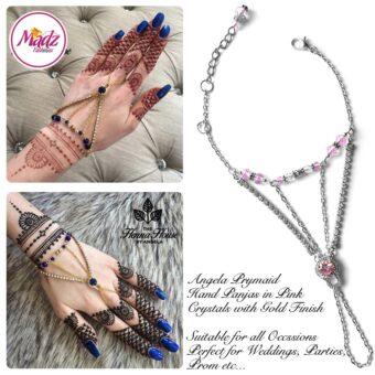 Hennabyang Silver Pink Panjas Hand Jewellery Cuff Bracelet - MadZ FashionZ UK