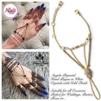 Hennabyang Gold White Panjas Hand Jewellery Cuff Bracelet - MadZ FashionZ UK