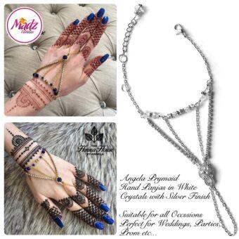 Hennabyang Silver White Panjas Hand Jewellery Cuff Bracelet - MadZ FashionZ UK
