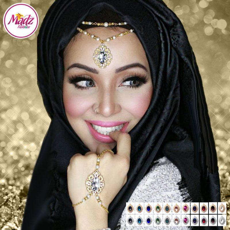 Madz Fashionz UK Fatiha World Chandelier Headpiece Matha Patti Gold and Silver Finish