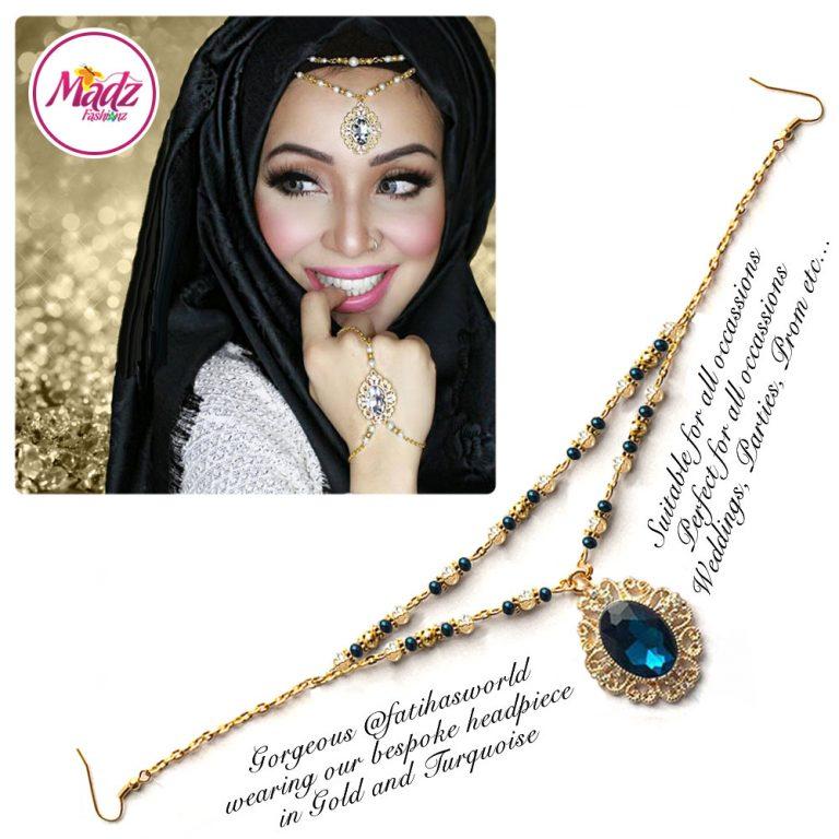 Madz Fashionz UK Fatiha World Chandelier Headpiece Matha Patti Gold and Turquoise Blue