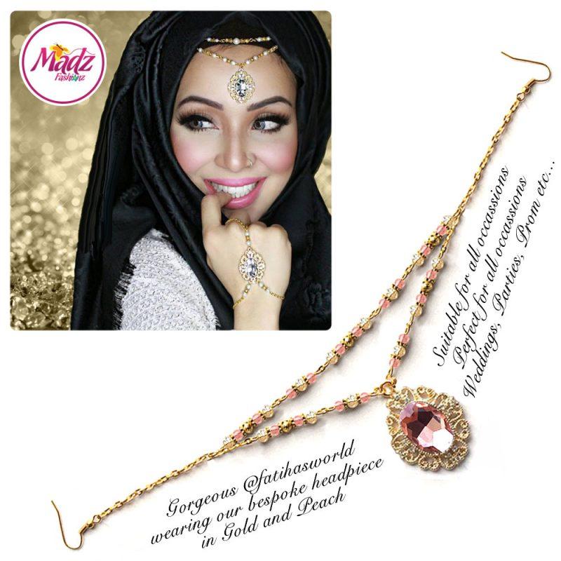 Madz Fashionz UK Fatiha World Chandelier Headpiece Matha Patti Gold and Peach