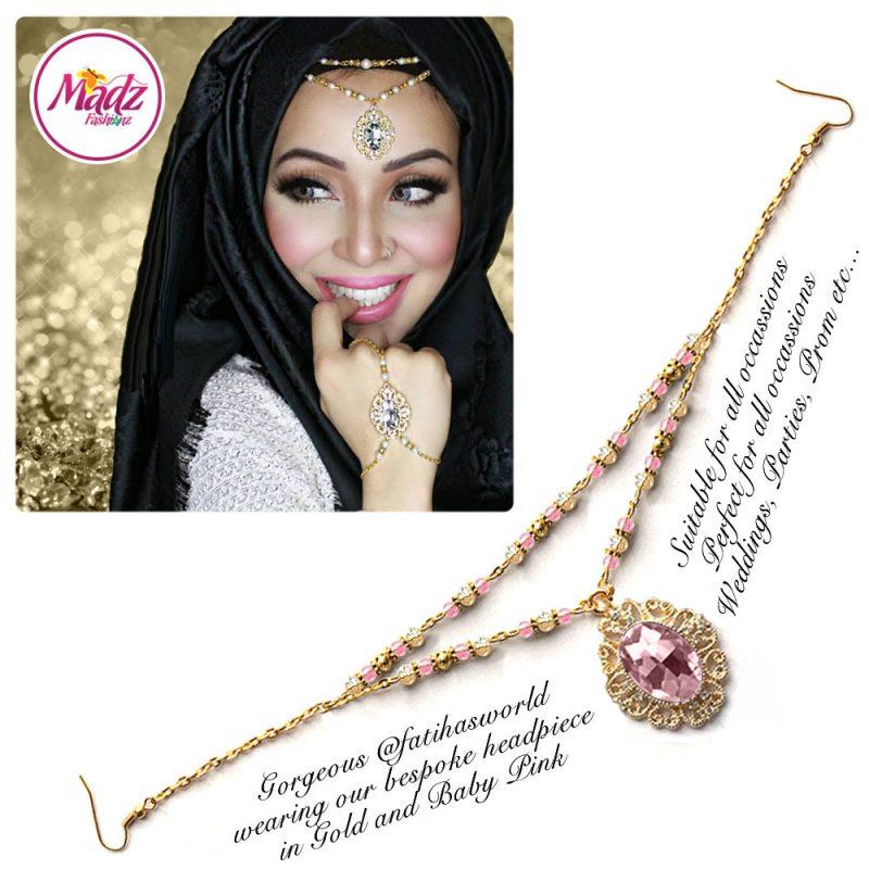 Madz Fashionz UK Fatiha World Chandelier Headpiece Matha Patti Gold and Light Pink
