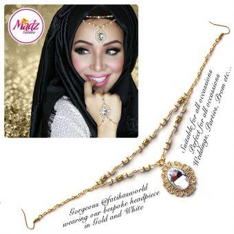 Madz Fashionz UK Fatiha World Chandelier Headpiece Matha Patti Gold and White