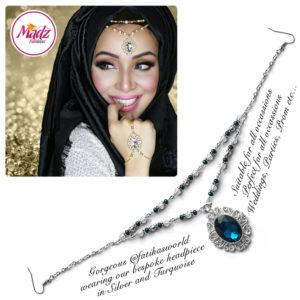 Madz Fashionz UK Fatiha World Chandelier Headpiece Matha Patti Silver and Turquoise Blue