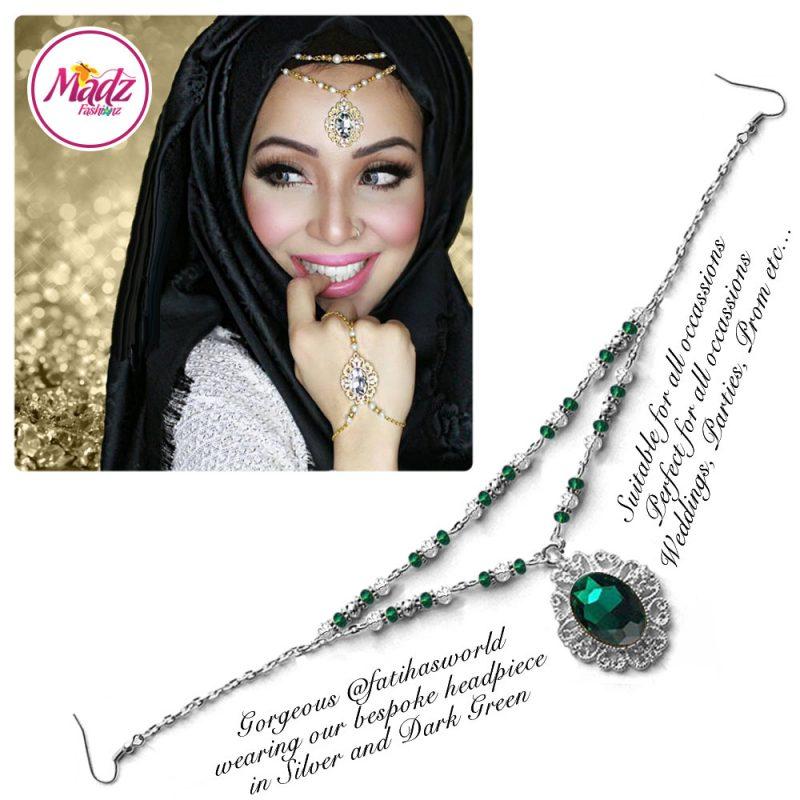 Madz Fashionz UK Fatiha World Chandelier Headpiece Matha Patti Silver and Dark Green