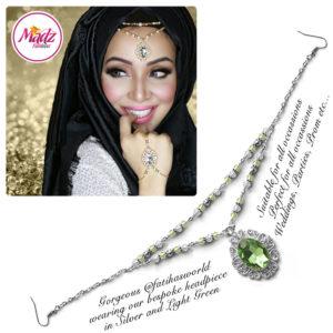 Madz Fashionz UK Fatiha World Chandelier Headpiece Matha Patti Silver and Light Green