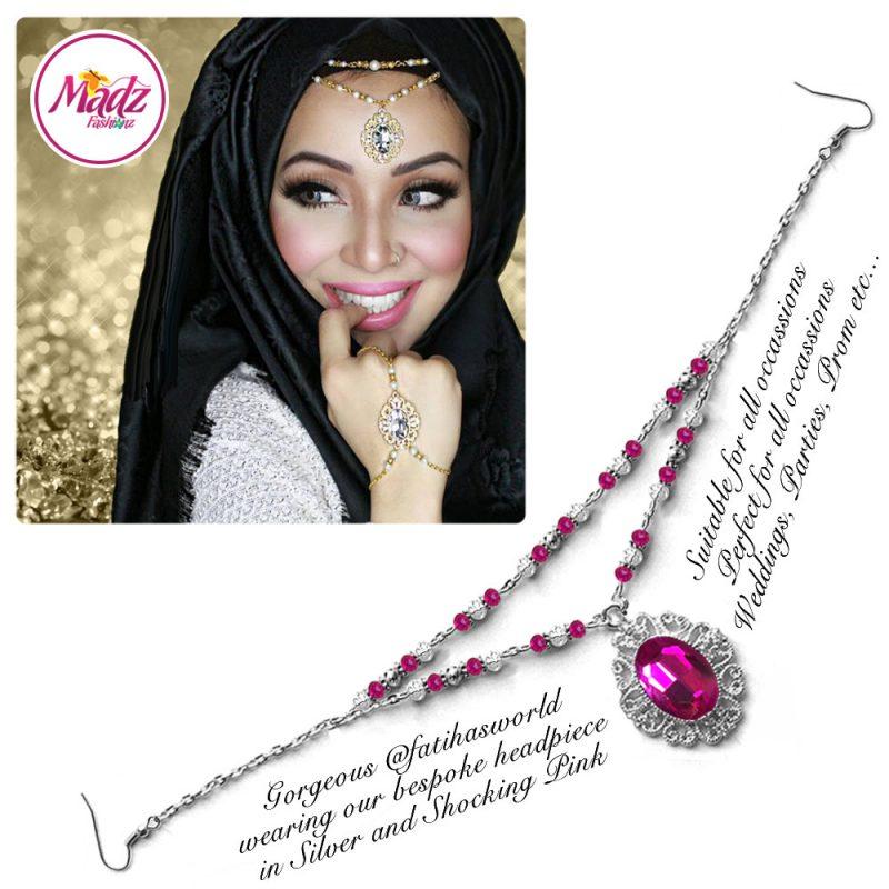 Madz Fashionz UK Fatiha World Chandelier Headpiece Matha Patti Silver and Shocking Pink