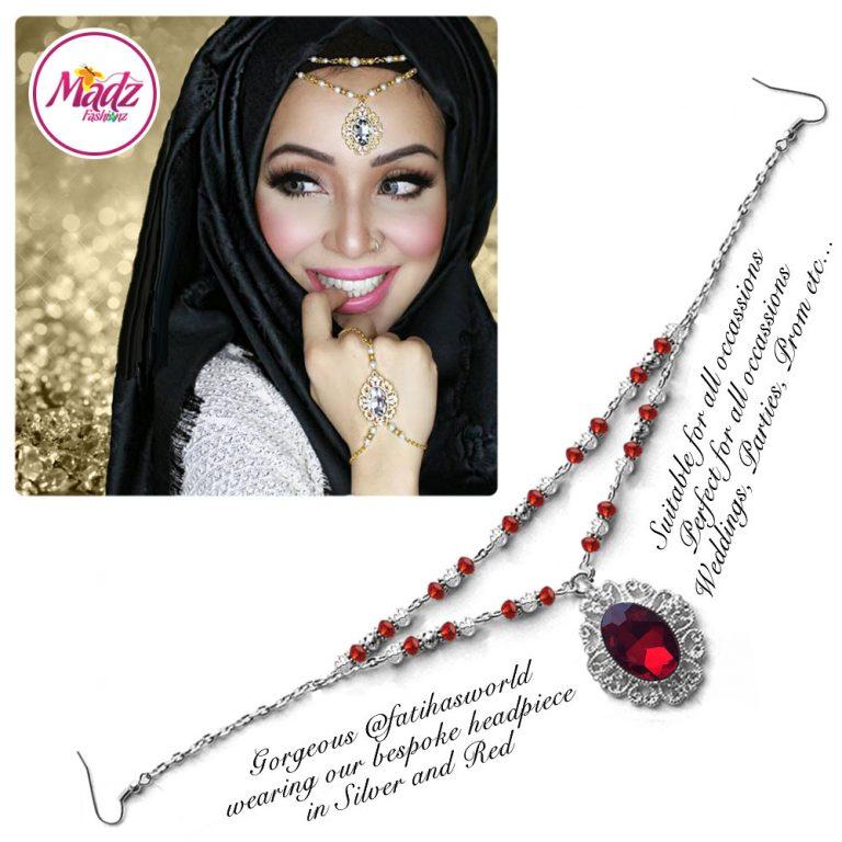 Madz Fashionz UK Fatiha World Chandelier Headpiece Matha Patti Silver and Red