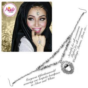 Madz Fashionz UK Fatiha World Chandelier Headpiece Matha Patti Silver and White
