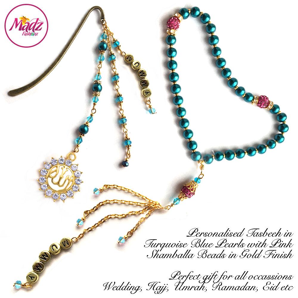 Madz Fashionz UK: Personalised Tasbeeh Bookmark Pin Turquoise Blue