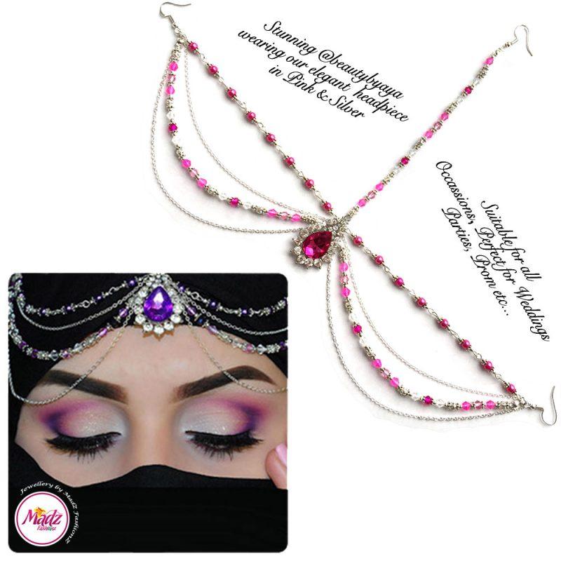 Madz Fashionz UK Beautybyaya Bridal Matha Patti Silver Pink