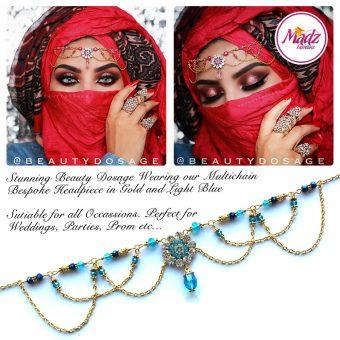 Madz Fashionz UK: Beautydosage Crystal Drop Titli Headpiece 2 Gold Light Blue