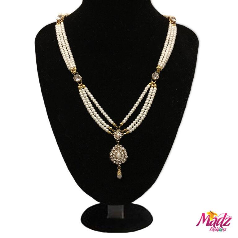 Madz Fashionz UK: Rani Kundan Gold Pearl Long Bridal Necklace Mala Gold White