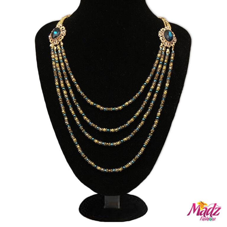 Madz Fashionz UK: Madhuri Chandelier Gold Turquoise Long Bridal Necklace