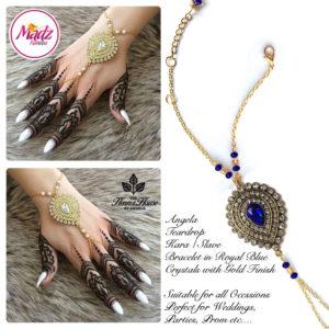 Madz Fashionz UK: Hennabyang Bespoke Kundan Handchain Slave Bracelet Gold and Royal Blue