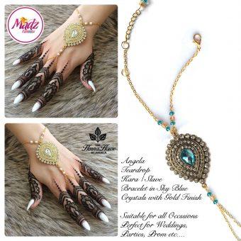 Madz Fashionz UK: Hennabyang Bespoke Kundan Handchain Slave Bracelet Gold and Sky Blue Turquoise Blue