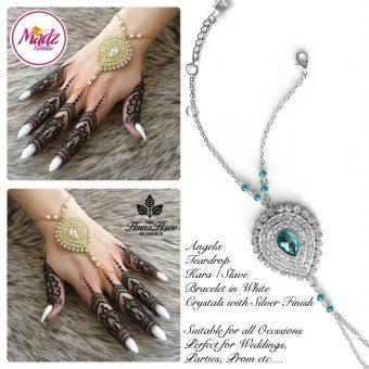 Madz Fashionz UK: Hennabyang Bespoke Kundan Handchain Slave Bracelet Silver and Sky Blue Turquoise Blue