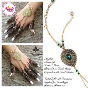Madz Fashionz UK: Hennabyang Bespoke Kundan Handchain Slave Bracelet Gold and Dark Green