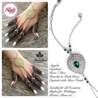 Madz Fashionz UK: Hennabyang Bespoke Kundan Handchain Slave Bracelet Silver and Dark Green