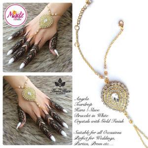 Madz Fashionz UK: Hennabyang Bespoke Kundan Handchain Slave Bracelet Gold and White