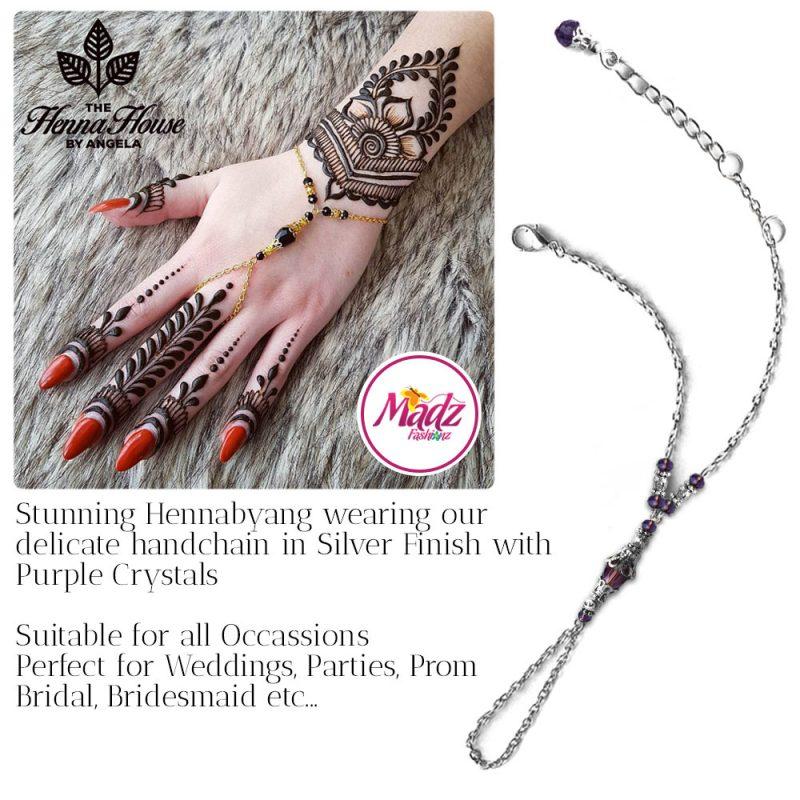 Madz Fashionz UK: Hennabyang Bespoke Crystal Slave Bracelet Handchain Delicate Silver Purple