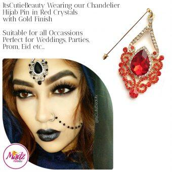 Madz Fashionz UK: ItsCutieBeauty Exquisite Nawab Bridal Hijab Pins, Hijab Jewels Gold Red