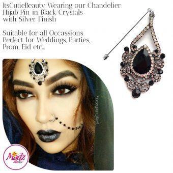 Madz Fashionz UK: ItsCutieBeauty Exquisite Nawab Bridal Hijab Pins, Hijab Jewels Silver Black