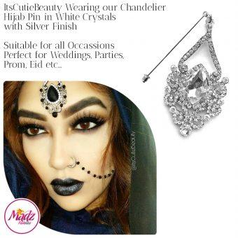 Madz Fashionz UK: ItsCutieBeauty Exquisite Nawab Bridal Hijab Pins, Hijab Jewels Silver White