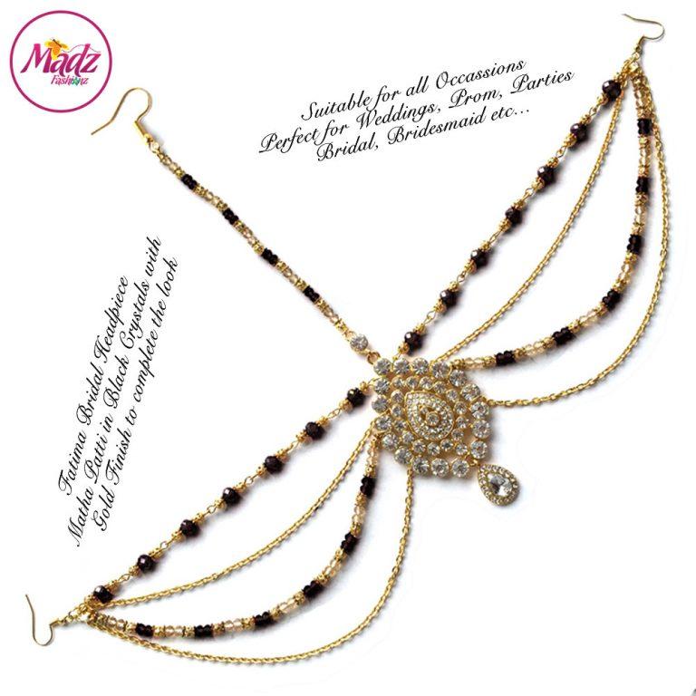 Madz Fashionz UK: Fatima Traditional Black Bridal Chandelier Matha Patti
