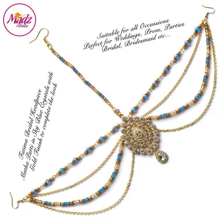 Madz Fashionz UK: Fatima Traditional Sky Blue Bridal Chandelier Matha Patti