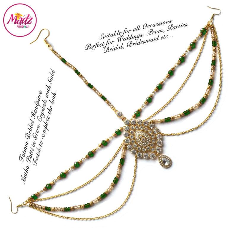 Madz Fashionz UK: Fatima Traditional Green Bridal Chandelier Matha Patti
