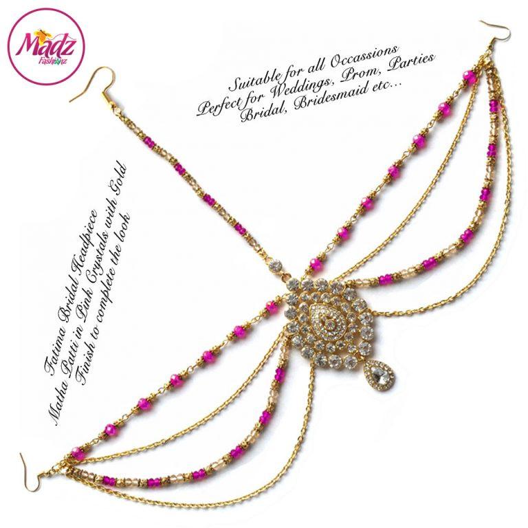 Madz Fashionz UK: Fatima Traditional Shocking Pink Bridal Chandelier Matha Patti