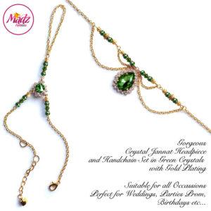 Madz Fashionz UK: Jannat Delicate Green Crystal Headpiece Handchain Set