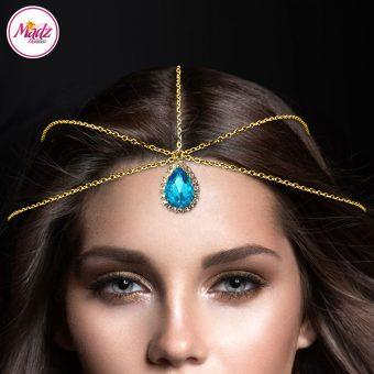 Madz Fashionz UK Gold and Sky Blue Hair Jewellery Headpiece Matha Patti