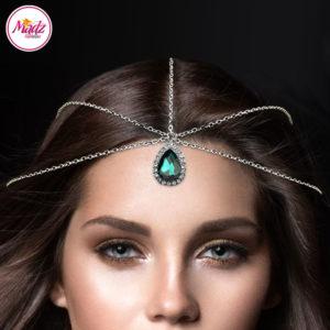 Madz Fashionz UK Silver and Green Hair Jewellery Headpiece Matha Patti