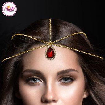 Madz Fashionz UK Gold and Red Hair Jewellery Headpiece Matha Patti
