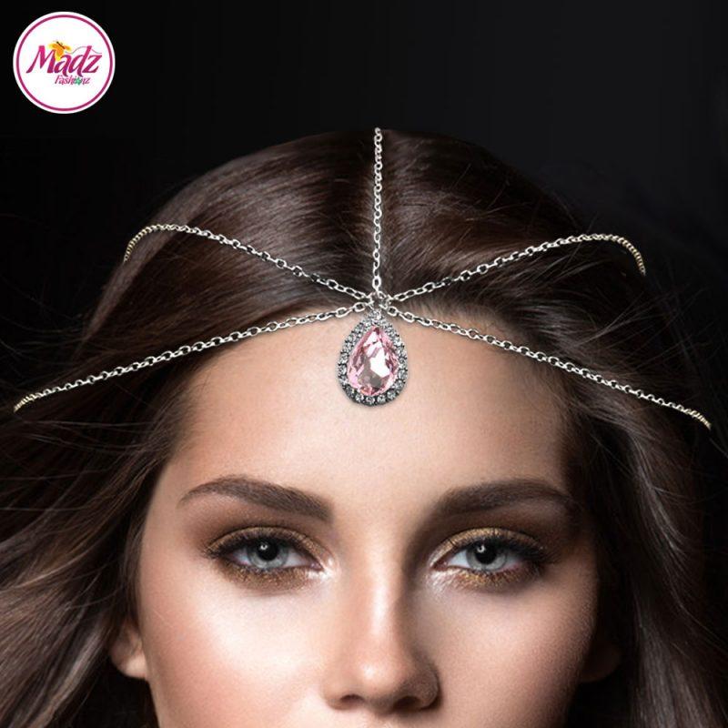 Madz Fashionz UK Silver and Light Pink Hair Jewellery Headpiece Matha Patti