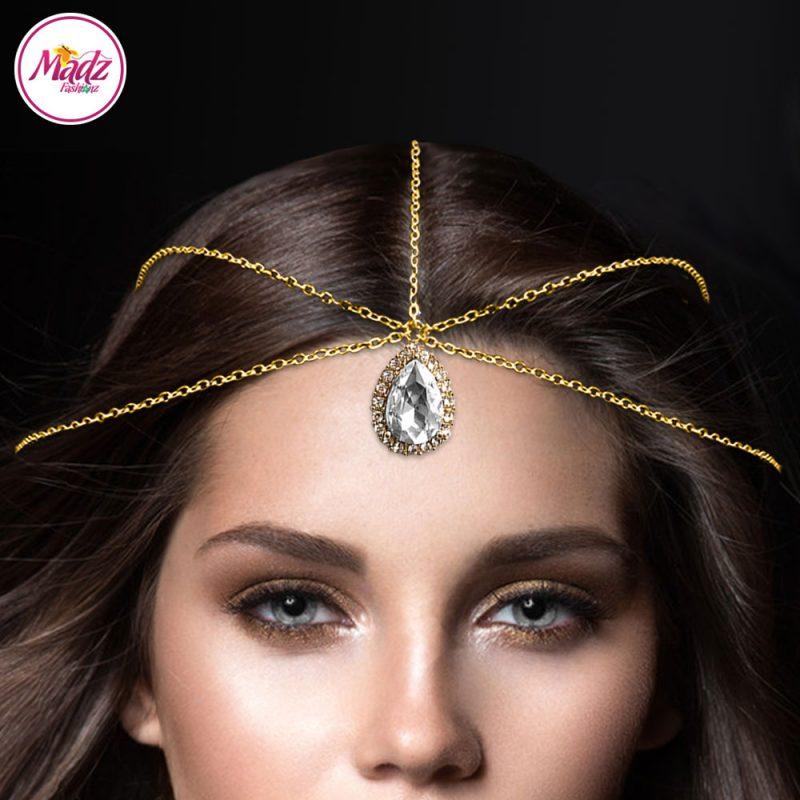 Madz Fashionz UK Gold and White Hair Jewellery Headpiece Matha Patti