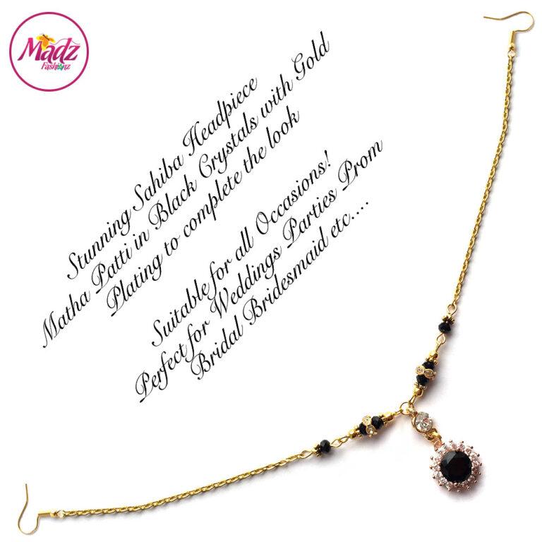 Madz Fashionz UK: Sahiba Crystal Headpiece Matha Patti Maang Tikka Gold Black