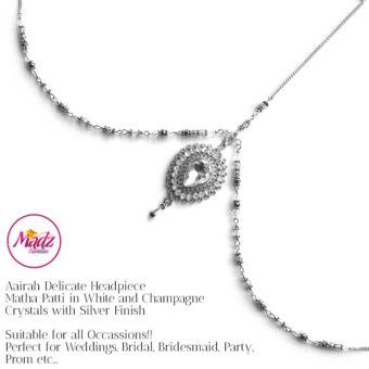 Madz Fashionz UK: Aairah Bespoke Matha Patti Headpiece Silver White Maang Tikka Head Gear 1