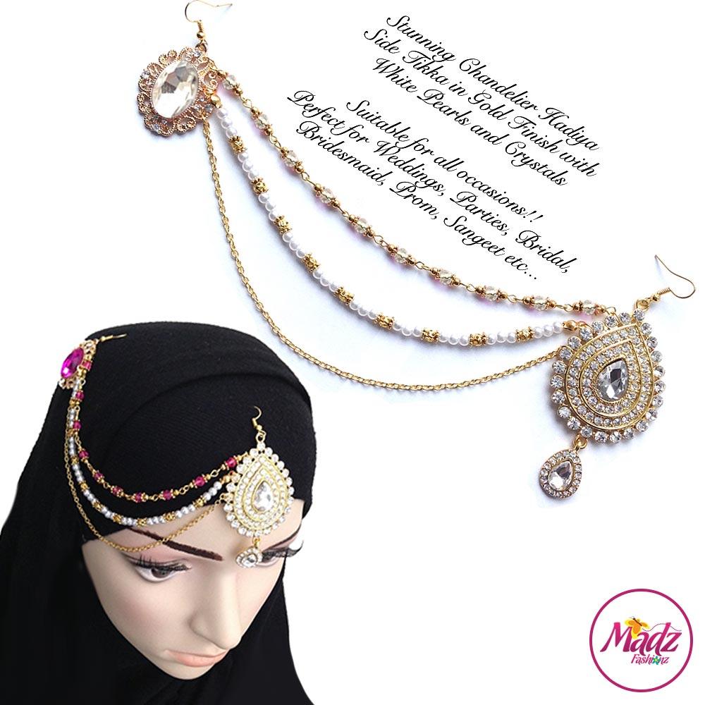 Madz Fashionz UK: Hadiya Gold White Pearl Bridal Side Tikka Headpiece