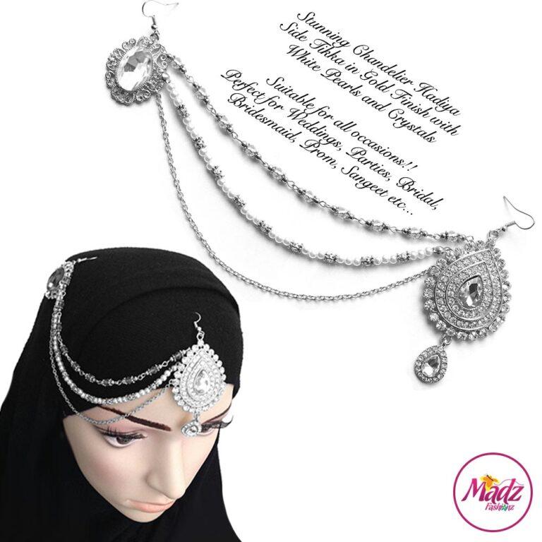 Madz Fashionz UK: Hadiya Silver White Pearl Bridal Side Tikka Headpiece