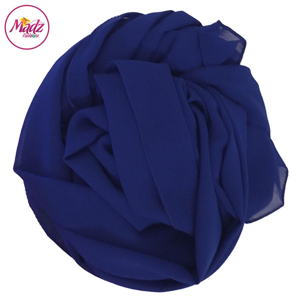 Madz Fashionz UK: Long Maxi Plain Chiffon Royal Blue Muslim Hijabs Scarves Shawls