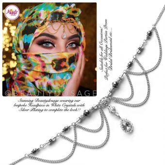 Madz Fashionz UK: Beautydosage Bespoke Crystal Drop Matha Patti Headpiece Silver and White